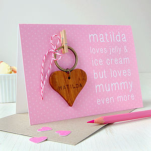 Personalised Loves Mummy Keyring Card - token gifts