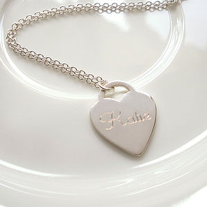 Personalised Silver Heart Necklace - jewellery gifts