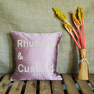 'Rhubarb And Custard' Silk Appliqué Cushion