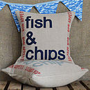 'fish and  chips' linen typographic cushion