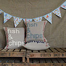'fish and chips' applique linen cushions