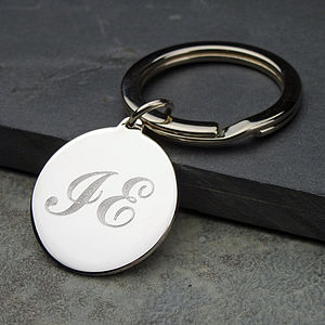 Initial Silver Keyring - gifts for her