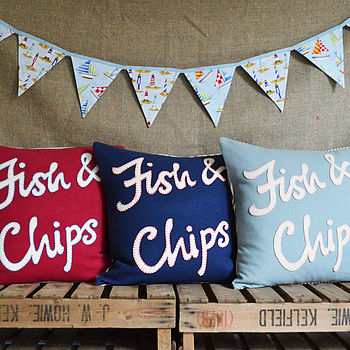 Fish and Chips wool appliqué cushion with blanket stitch