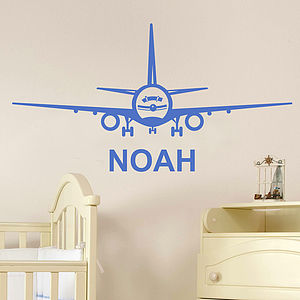 Aeroplane Personalised Name Wall Sticker - children's room accessories