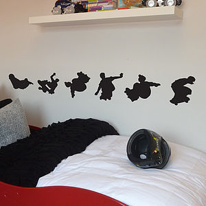 Set Of Six Skateboarders - wall stickers