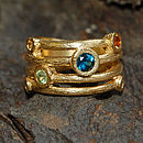 Gold And Blue Topaz Textured Bands Ring