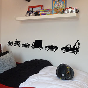 Set Of Six Vehicle Wall Stickers - decorative accessories