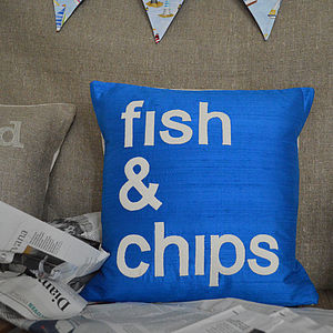 'Fish And Chips' Silk Cushion