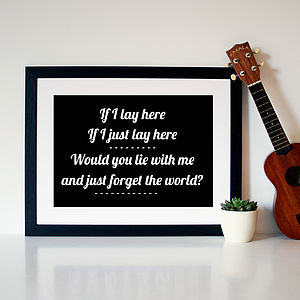 Snow Patrol 'Chasing Cars' Song Lyric Print - art & pictures