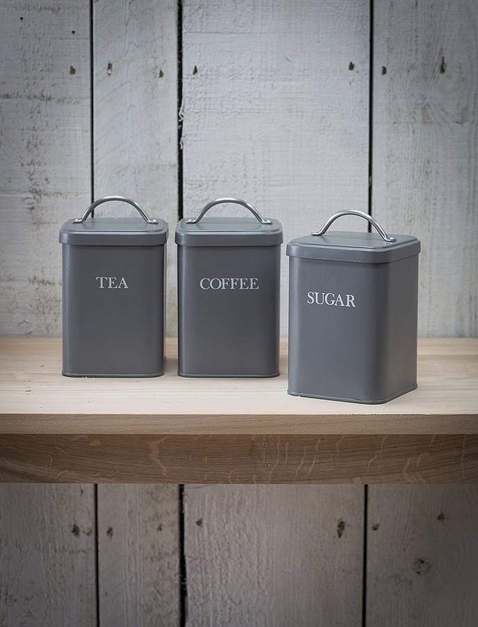 Set of kitchen canisters by garden trading for Kitchen set grey