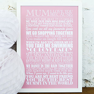 Personalised 'Mum I Love You Because…' Print - canvas prints & art
