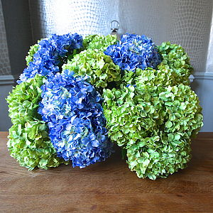 Faux Green Or Blue Hydrangea Stem
