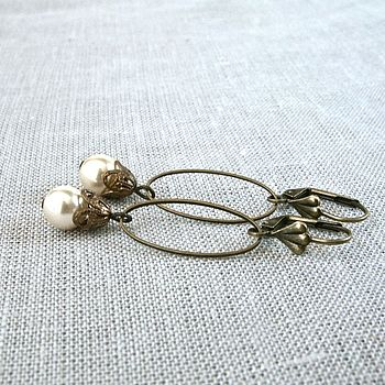 Vintage Style Pearl Drop Earrings