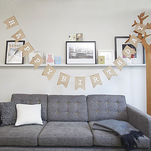 Happy Birthday Hessian Burlap Bunting - bunting & garlands