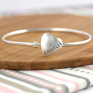Personalised Silver Heart Bangle - wedding day tokens