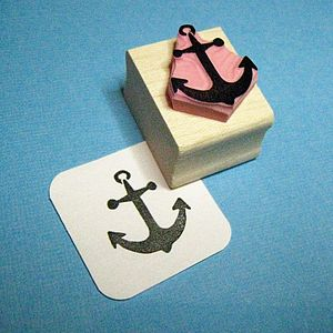 Small Anchor Hand Carved Rubber Stamp