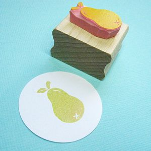 Mini Pear Hand Carved Rubber Stamp