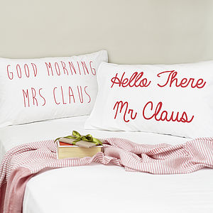 Mr And Mrs Claus Pillowcases - christmas home accessories