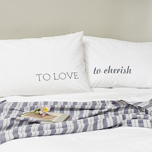 MW Studio 'To Love To Cherish' Pillowcase Set - gifts for couples
