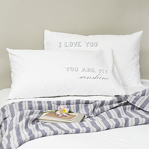 Pair Of 'You Are My Sunshine' Pillowcases - bed, bath & table linen