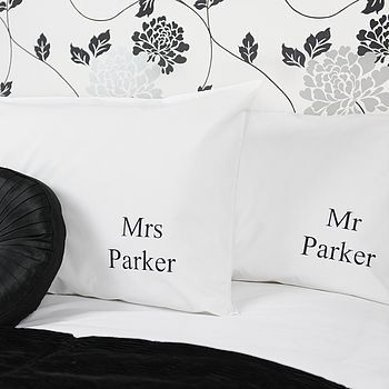 Personalised 'Mr And Mrs' Wedding Pillowcases