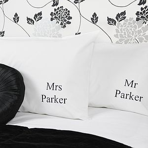 Personalised 'Mr And Mrs' Wedding Pillowcases - bed, bath & table linen