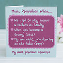Personalised 'Remember When..' Mum Card