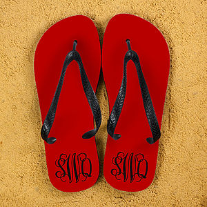 Monogrammed Personalised Flip Flops - shoes