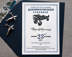 Letterpress Toy Plane Naming Day Invitation