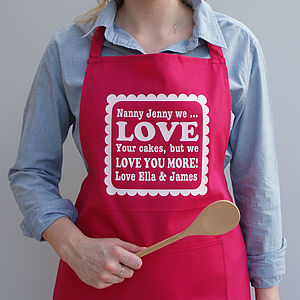 Personalised 'We Love You More' Apron - aspiring chef