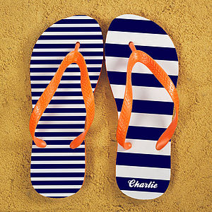 Striped Personalised Flip Flops - men's