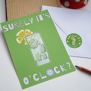 Gin O'clock Oversized Postcard With Sticker - writing