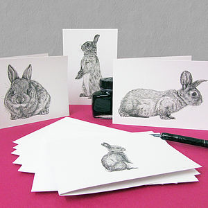Pack Of Eight Rabbit Art Cards