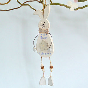 Hanging White Bunny With Blue Flower