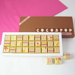 Mosaic Box Of All White Chocolates - novelty chocolates