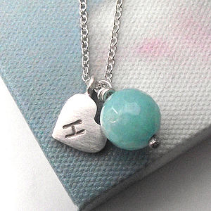 Personalised Jade And Heart Initial Necklace - women's jewellery