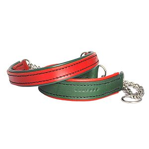 Padded Leather Half Check Collar - pet collars