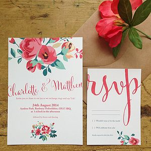 Floral Country Garden Wedding Invitation - invitations