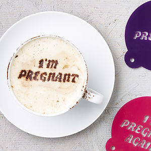 Pregnancy Announcement Coffee Stencil