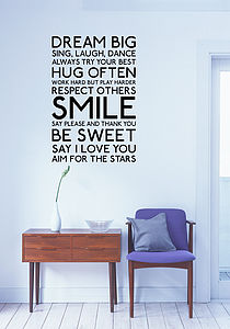 Dream Big Wall Stickers - wall stickers