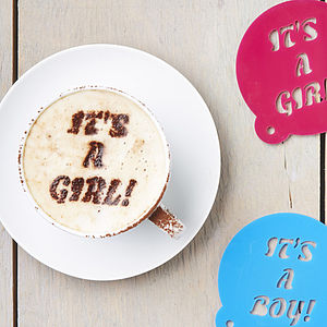 Baby Gender Announcement Coffee Stencil - pregnancy announcements