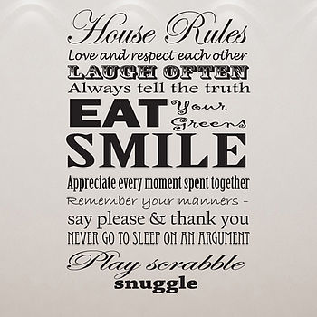 'House Rules' Wall Sticker