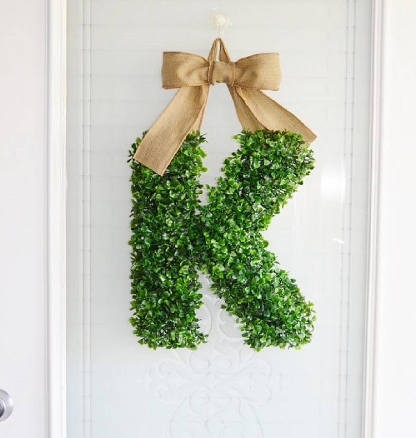 artificial boxwood letter by artificial landscapes With faux boxwood letters