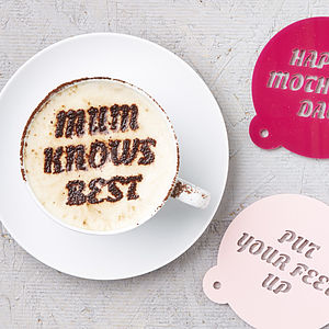 Personalised Mothers Day Coffee Stencil - gifts under £15