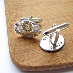 Floral Secret Message Wedding Day Cufflinks - personalised
