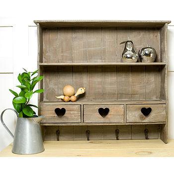 Reclaimed Wood Heart Wall Shelf