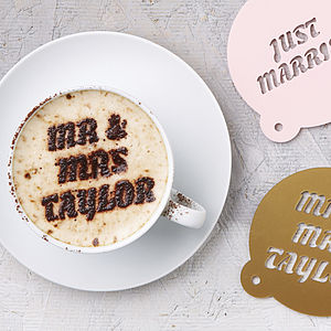 Personalised Wedding Gift Coffee Stencil - baking