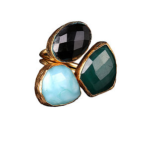 Jeylan Amazonite And Onyx Ring