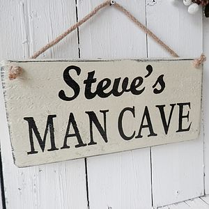 Personalised Man Cave Wood Sign Hand Made - garden
