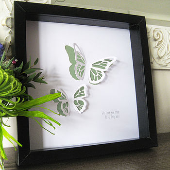 Mum's Butterfly Paper Cut Framed